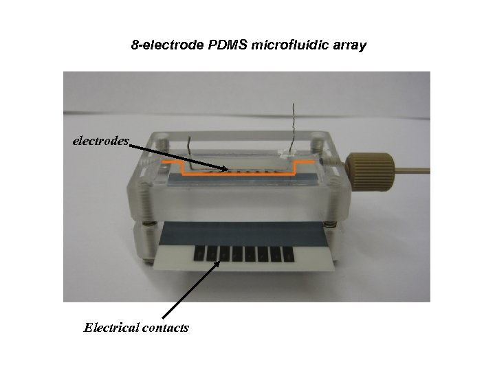 8 -electrode PDMS microfluidic array electrodes Electrical contacts