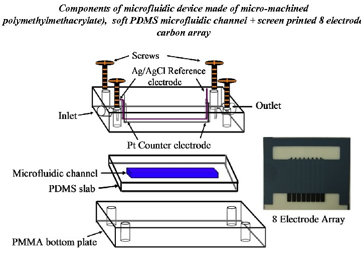 Components of microfluidic device made of micro-machined polymethylmethacrylate), soft PDMS microfluidic channel + screen