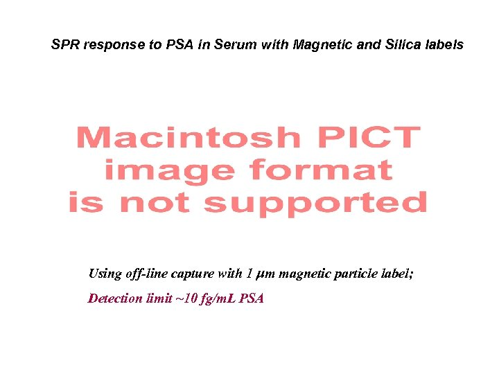 SPR response to PSA in Serum with Magnetic and Silica labels Using off-line capture