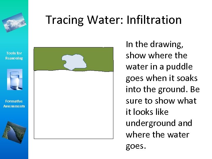 Tracing Water: Infiltration Tools for Reasoning Formative Assessments In the drawing, show where the