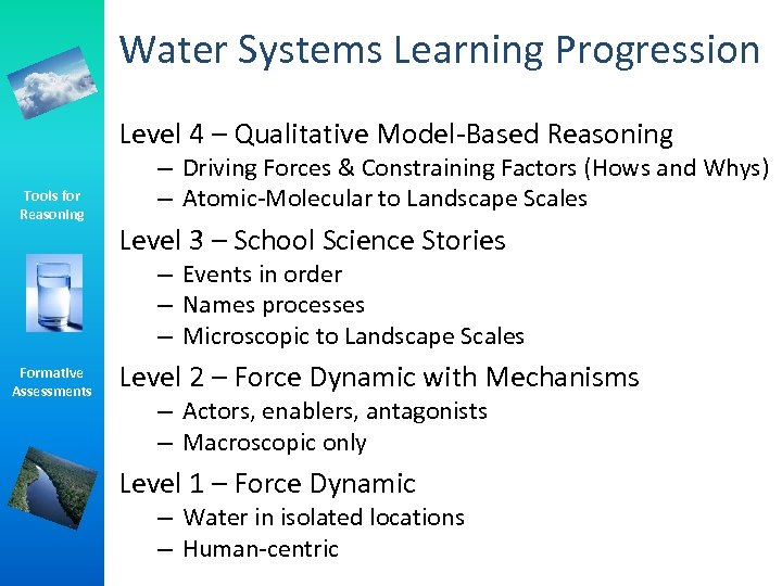 Water Systems Learning Progression Level 4 – Qualitative Model-Based Reasoning Tools for Reasoning –