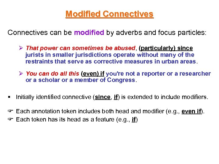 Modified Connectives can be modified by adverbs and focus particles: Ø That power can