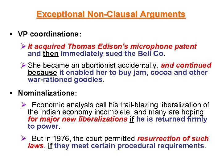 Exceptional Non-Clausal Arguments § VP coordinations: Ø It acquired Thomas Edison's microphone patent and