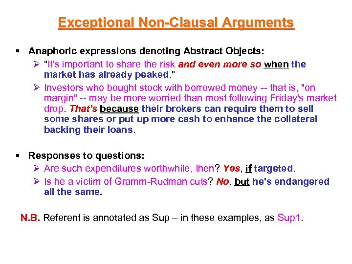 Exceptional Non-Clausal Arguments § Anaphoric expressions denoting Abstract Objects: Ø
