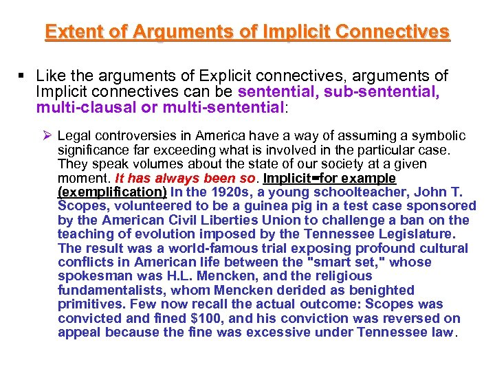 Extent of Arguments of Implicit Connectives § Like the arguments of Explicit connectives, arguments