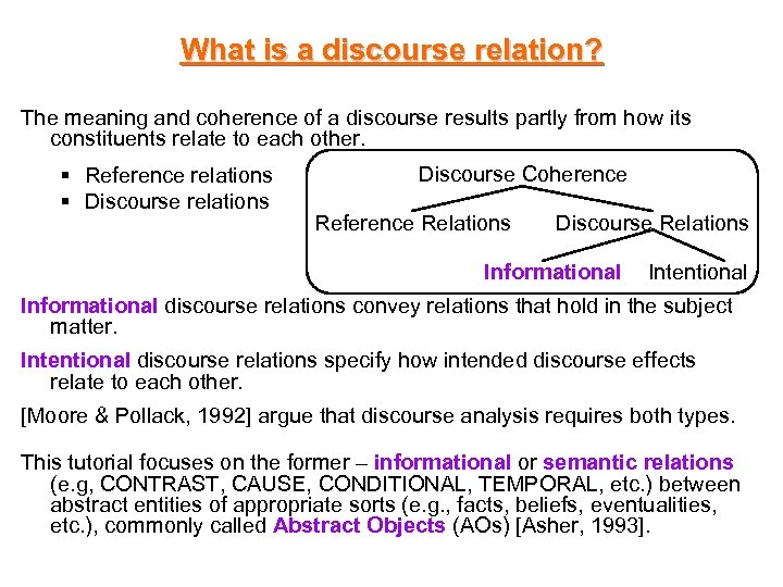 What is a discourse relation? The meaning and coherence of a discourse results partly