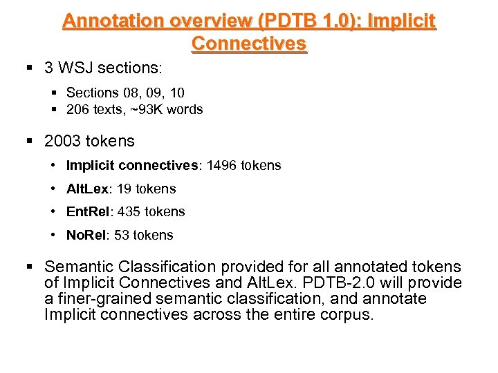 Annotation overview (PDTB 1. 0): Implicit Connectives § 3 WSJ sections: § Sections 08,