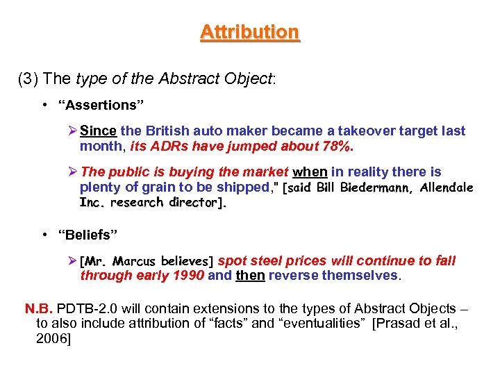 "Attribution (3) The type of the Abstract Object: • ""Assertions"" Ø Since the British"