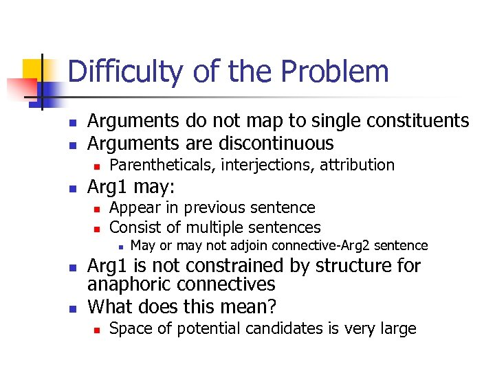 Difficulty of the Problem n n Arguments do not map to single constituents Arguments