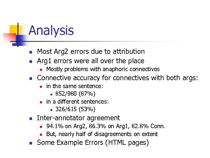 Analysis n n Most Arg 2 errors due to attribution Arg 1 errors were