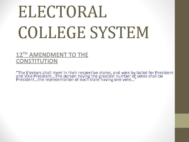 """ELECTORAL COLLEGE SYSTEM 12 TH AMENDMENT TO THE CONSTITUTION """"The Electors shall meet in"""
