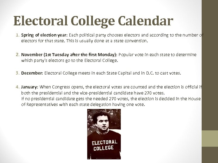 Electoral College Calendar 1. Spring of election year: Each political party chooses electors and