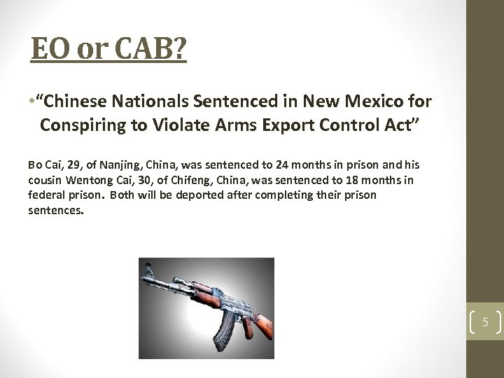 "EO or CAB? • ""Chinese Nationals Sentenced in New Mexico for Conspiring to Violate"