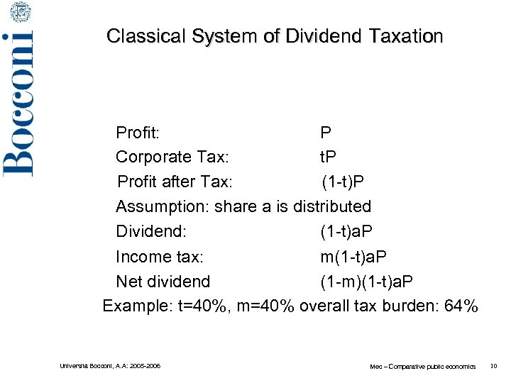 Classical System of Dividend Taxation Profit: P t. P Corporate Tax: Profit after Tax: