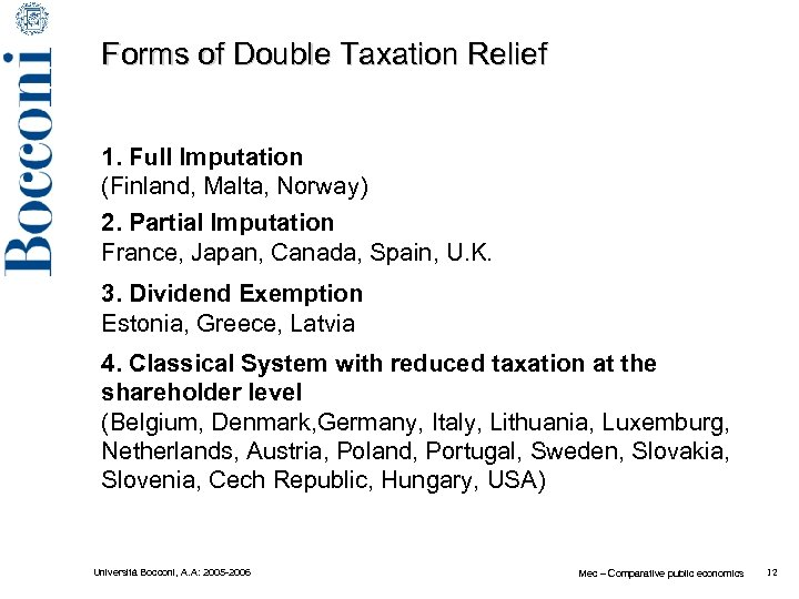 Forms of Double Taxation Relief 1. Full Imputation (Finland, Malta, Norway) 2. Partial Imputation
