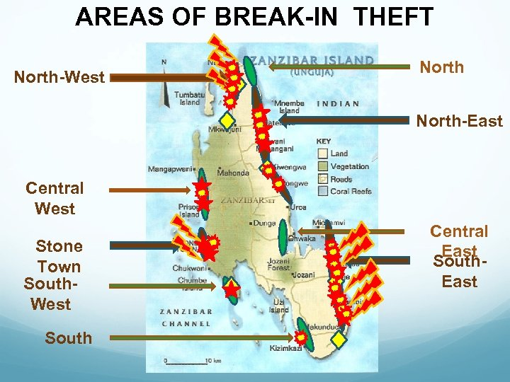 AREAS OF BREAK-IN THEFT North-West North-East Central West Stone Town South. West South Central