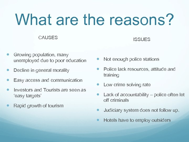 What are the reasons? CAUSES Growing population, many unemployed due to poor education Decline