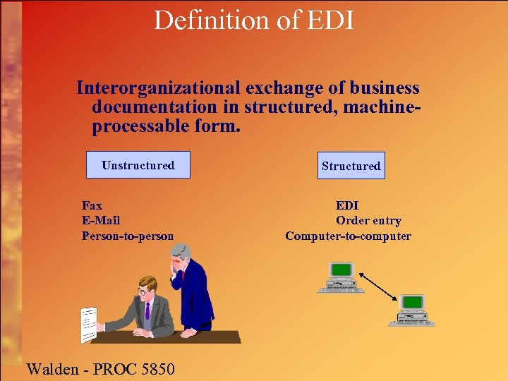 Definition of EDI Interorganizational exchange of business documentation in structured, machineprocessable form. Unstructured Fax