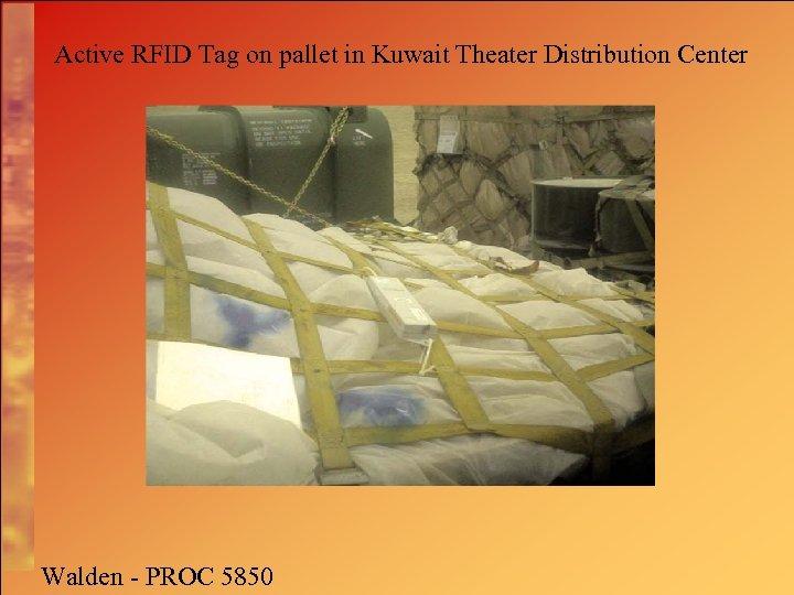 Active RFID Tag on pallet in Kuwait Theater Distribution Center Walden - PROC 5850