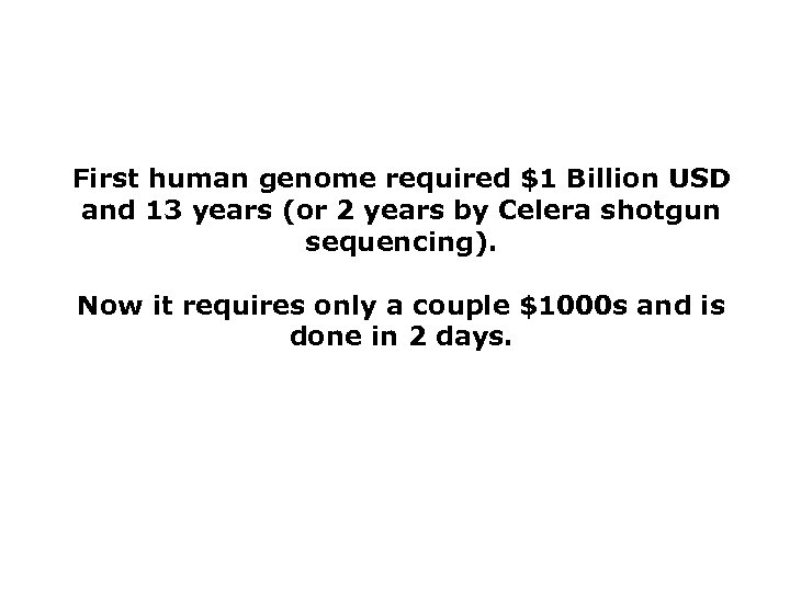 First human genome required $1 Billion USD and 13 years (or 2 years by