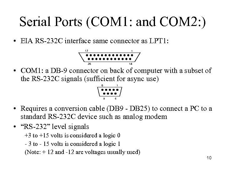 Serial Ports (COM 1: and COM 2: ) • EIA RS-232 C interface same