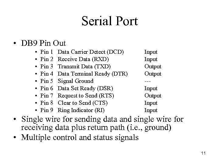 Serial Port • DB 9 Pin Out • • • Pin 1 Pin 2