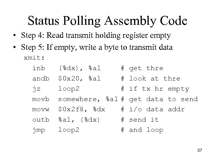 Status Polling Assembly Code • Step 4: Read transmit holding register empty • Step