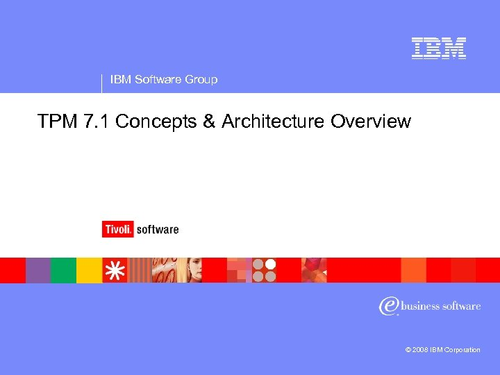 IBM Software Group TPM 7. 1 Concepts & Architecture Overview © 2008 IBM Corporation