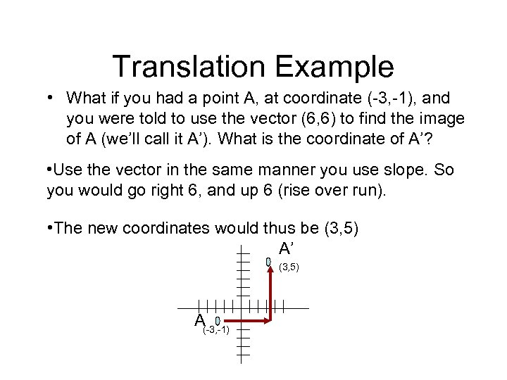 Translation Example • What if you had a point A, at coordinate (-3, -1),