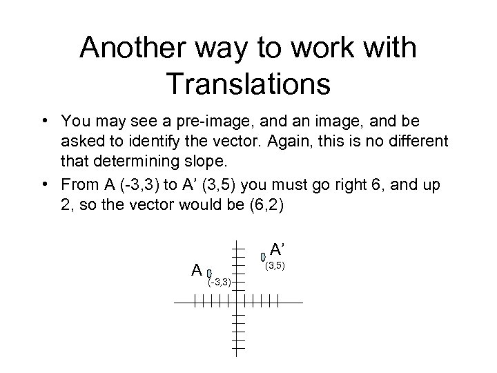 Another way to work with Translations • You may see a pre-image, and an