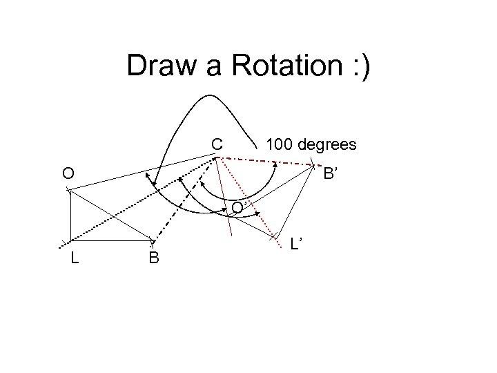 Draw a Rotation : ) C 100 degrees O B' O' L B L'