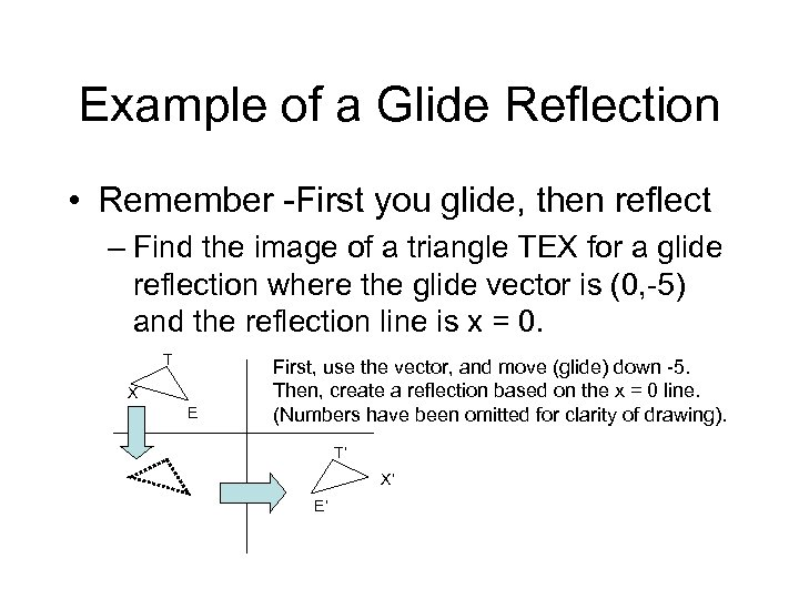 Example of a Glide Reflection • Remember -First you glide, then reflect – Find
