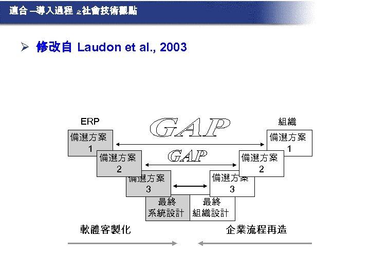 適合 ─導入過程 之 社會技術觀點 Ø 修改自 Laudon et al. , 2003 ERP 組織 備選方案