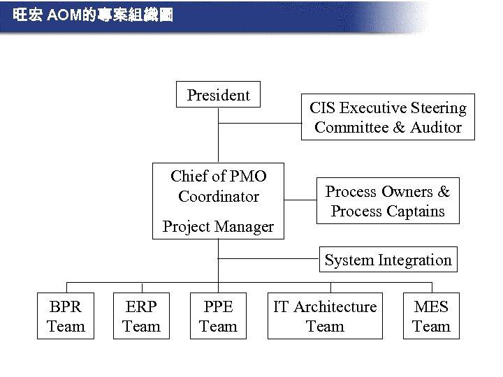 旺宏 AOM的專案組織圖 President CIS Executive Steering Committee & Auditor Chief of PMO Coordinator Project