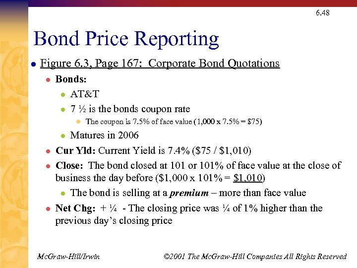 6. 48 Bond Price Reporting l Figure 6. 3, Page 167: Corporate Bond Quotations
