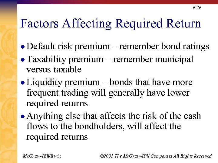 6. 76 Factors Affecting Required Return l Default risk premium – remember bond ratings