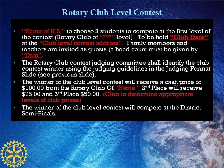 """Rotary Club Level Contest • """"Name of H. S. """" to choose 3 students"""