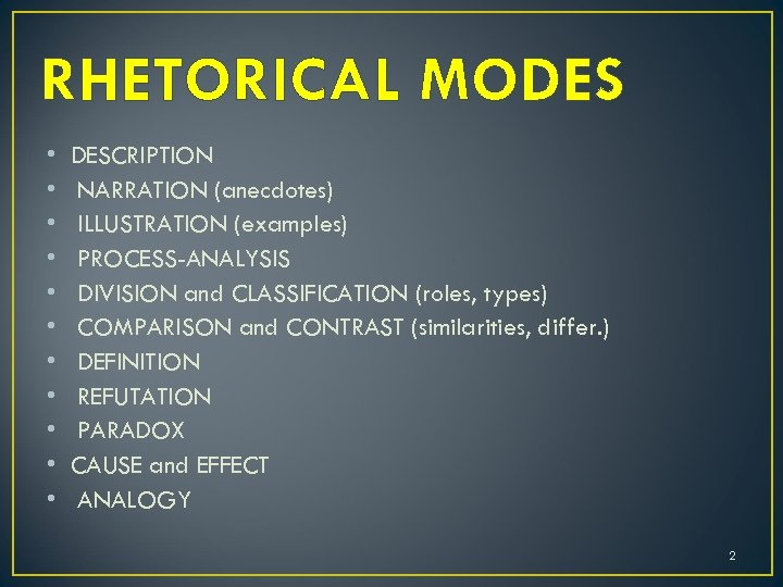 RHETORICAL MODES • • • DESCRIPTION NARRATION (anecdotes) ILLUSTRATION (examples) PROCESS-ANALYSIS DIVISION and CLASSIFICATION
