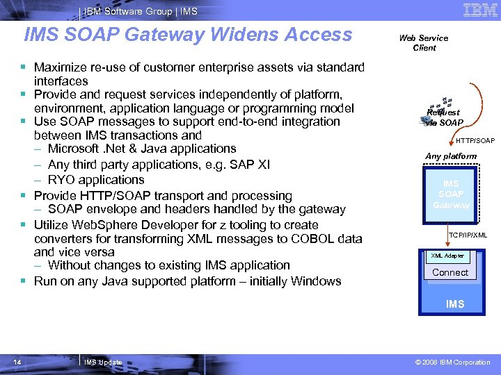 IBM Software Group   IMS SOAP Gateway Widens Access Web Service Client § Maximize