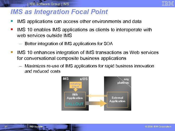IBM Software Group   IMS as Integration Focal Point § IMS applications can access
