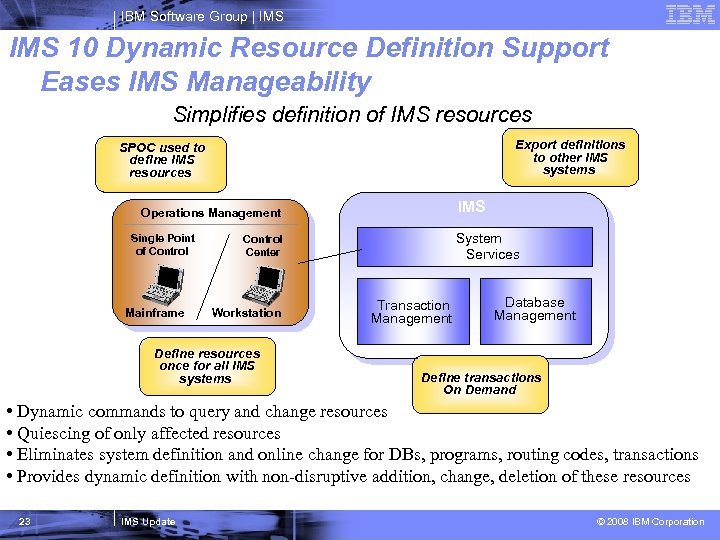 IBM Software Group   IMS 10 Dynamic Resource Definition Support Eases IMS Manageability Simplifies