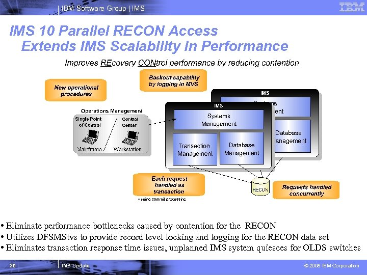IBM Software Group   IMS 10 Parallel RECON Access Extends IMS Scalability in Performance