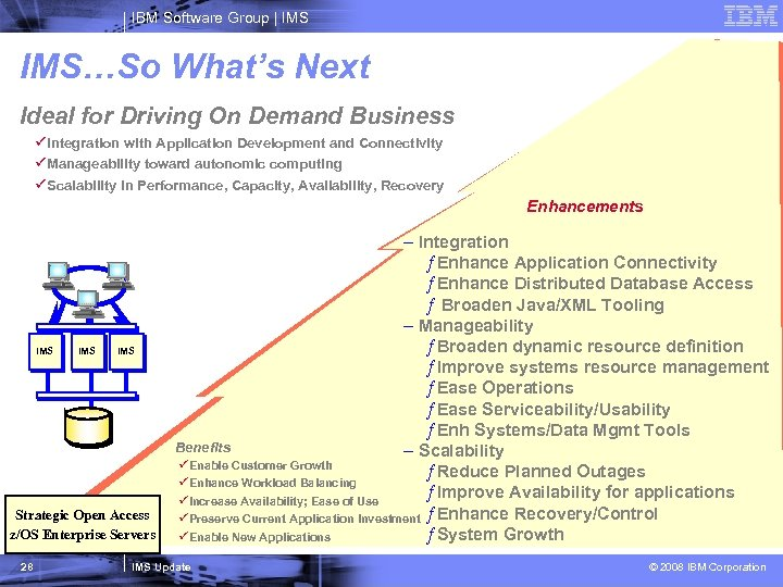 IBM Software Group   IMS…So What's Next Ideal for Driving On Demand Business üIntegration
