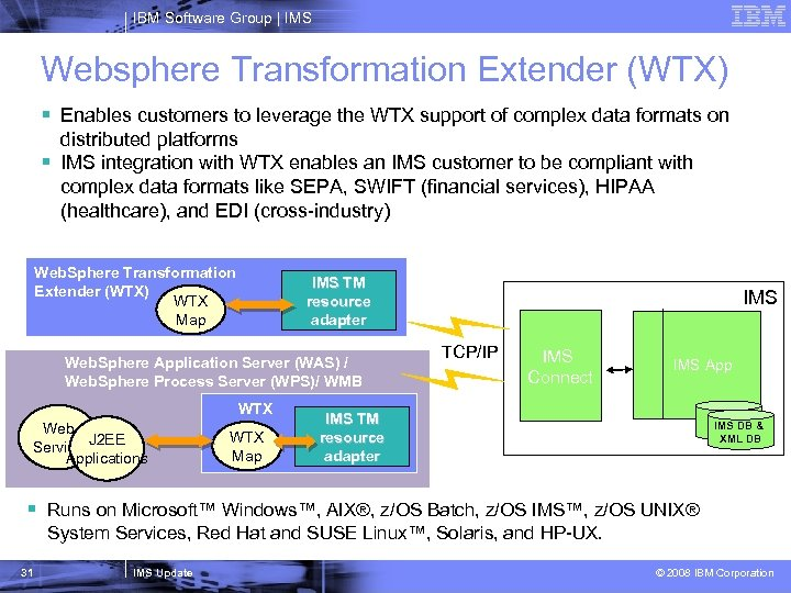 IBM Software Group   IMS Websphere Transformation Extender (WTX) § Enables customers to leverage