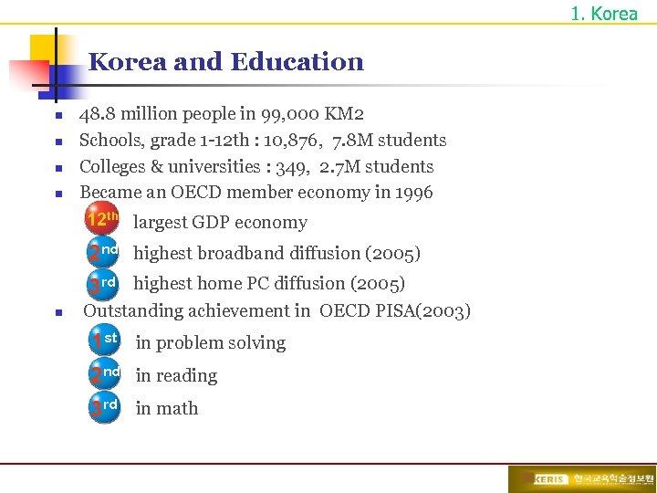 1. Korea and Education n n 48. 8 million people in 99, 000 KM