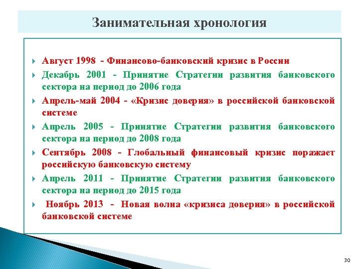 Занимательная хронология Август 1998 - Финансово-банковский кризис в России Декабрь 2001 - Принятие Стратегии