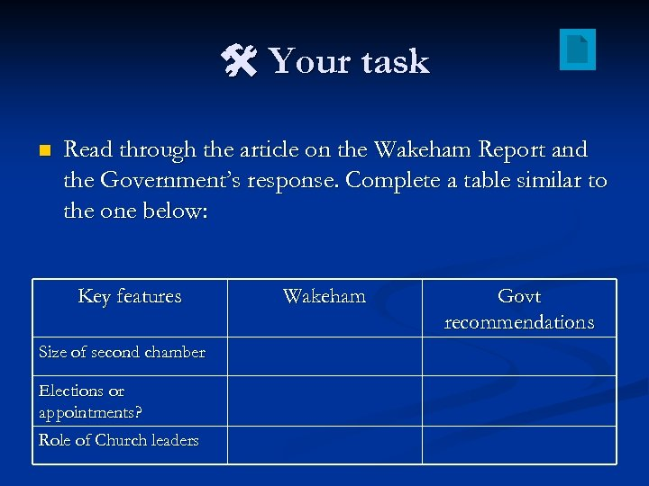Your task n Read through the article on the Wakeham Report and the