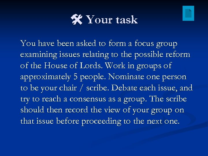 Your task You have been asked to form a focus group examining issues