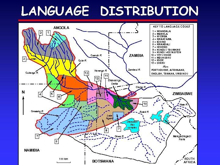 LANGUAGE DISTRIBUTION KEY TO LANGUAGE CODES ANGOLA 2 1 ZAMBIA Cuando R. 3 Cuito