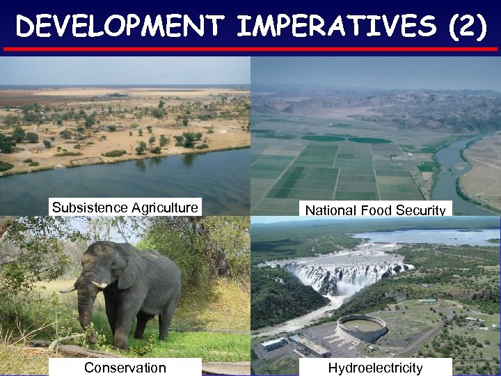 DEVELOPMENT IMPERATIVES (2) Subsistence Agriculture National Food Security Conservation Hydroelectricity